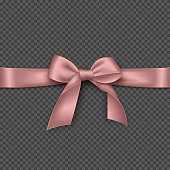 Realistic pink bow and ribbon.