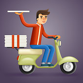 Realistic Pizza Delivery Courier Motorcycle Scooter Box Concept Isolated Cartoon