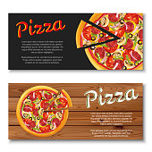 Realistic pizza flyer on wooden and black backgrounds.