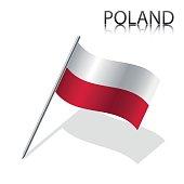 Realistic Polish flag, vector illustration