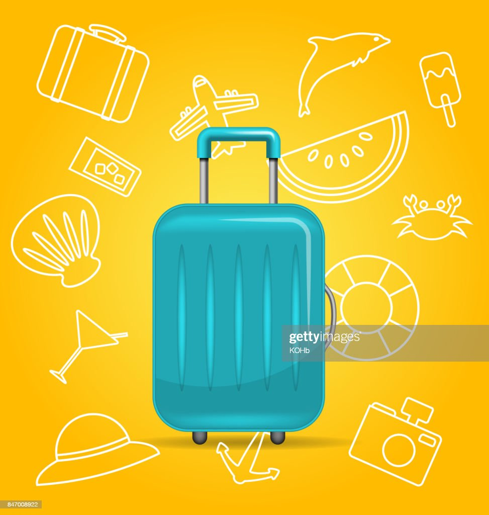 Realistic Polycarbonate Suitcase, Baggage for Tourism, on Yellow Background