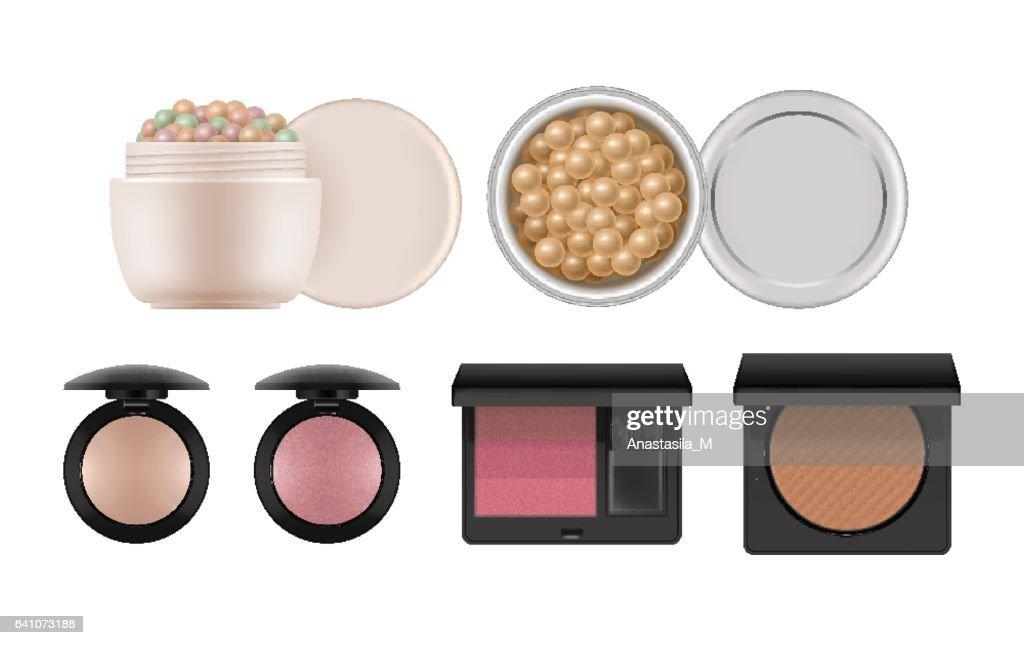 Realistic powder, rouge, bronzer balls