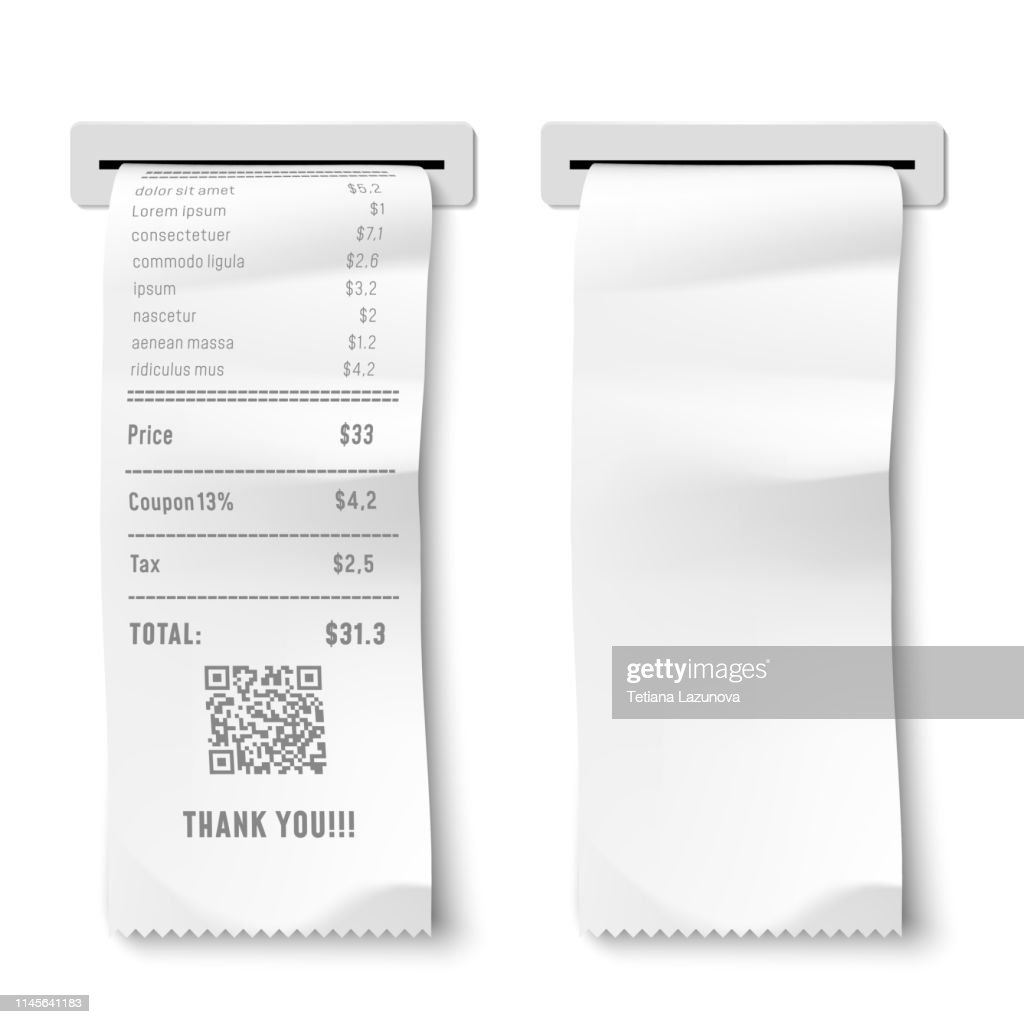 Realistic printed check. Transaction receipt, payment bill and financial checks isolated 3D vector illustration