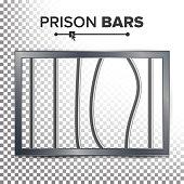 Realistic Prison Window Vector. Broken Prison Bars. Jail Break Concept. Prison-Breaking Illustration. Way Out To Freedom. Transparent Background