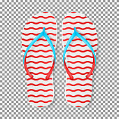 Realistic red and white flip flops