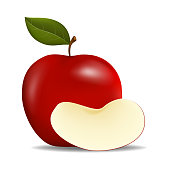 Realistic Red Apples with Green Leaf and slice Apple , Vector Illustration , isolated on white background with copy space
