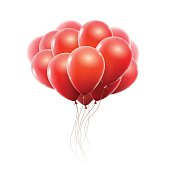 Realistic red balloons
