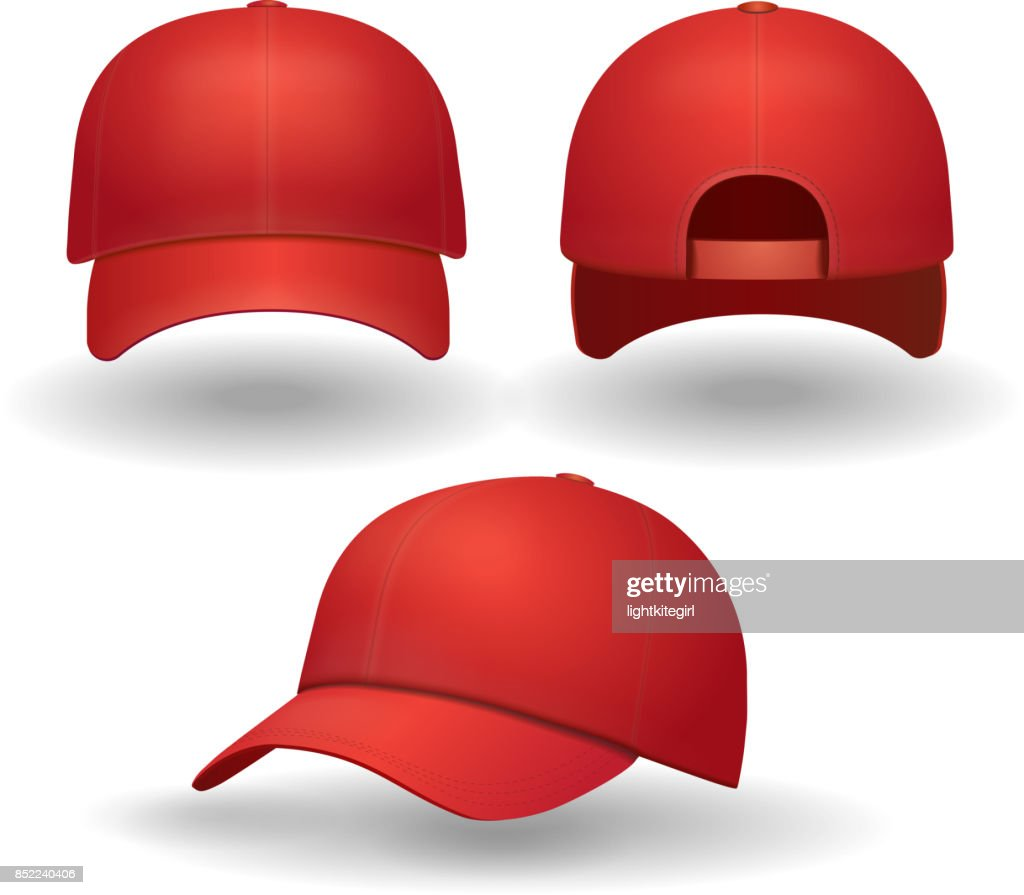 Realistic red baseball cap set. Back front and side view isolated 3d vector illustration