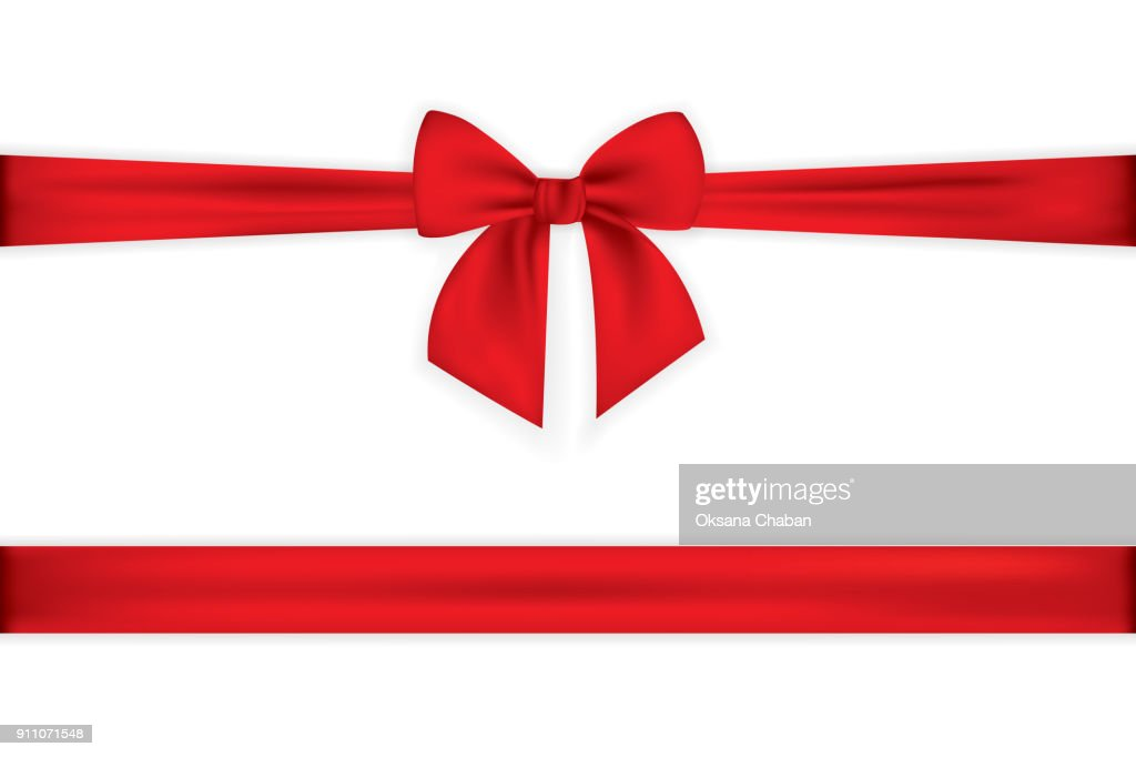Realistic red bow and ribbon isolated on transparent background. Template for greeting card, poster or brochure. Vector illustration