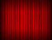 Realistic Red Full Closed Stage Curtains Background. Vector