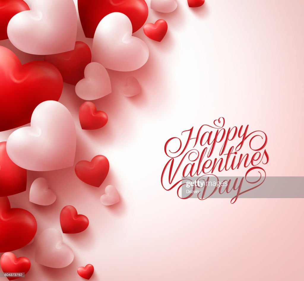 Realistic Red Hearts and Sweet Happy Valentines Day Title Text