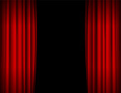 Realistic Red Opened Stage Curtains Background. Vector