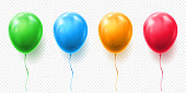 Realistic red, orange, green and blue balloon vector illustration on transparent background. Balloons for Birthday, festive occasions, parties, weddings. Festival romantic decorations