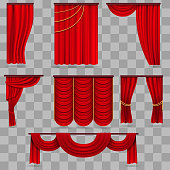 Realistic red velvet stage curtains, scarlet theatre drapery isolated on transparent background