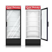 3D Realistic Refrigerator Vector. Glass Door Fridge Isolated Illustration