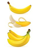 Realistic ripe bananas isolated on a white background. Realistic 3d bunch of bananas on a white background.