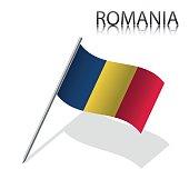 Realistic Romanian flag, vector illustration