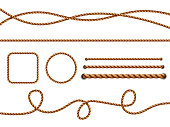Realistic ropes. Yellow or brown curved nautical ropes with knots vector template