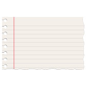 Realistic ruled notebook ripped empty sheet.
