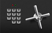 Realistic safe lock metal element on textured black plastic background. Stainless steel wheel. Vector icon or design element. Metal keypad buttons with number. Safety and privacy protection concept