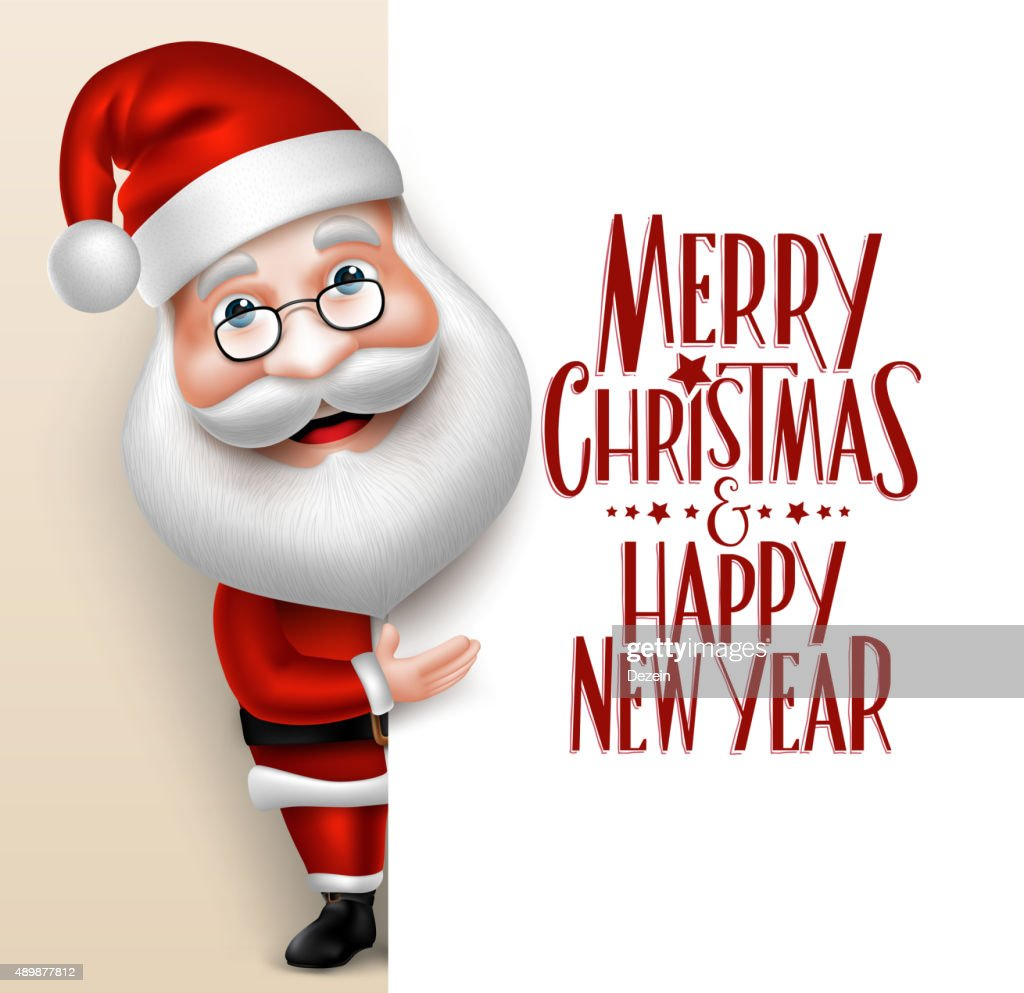 3D Realistic Santa Claus Cartoon Character Showing
