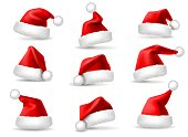Realistic santa hats. Santa claus christmas holiday caps, celebration fluffy plush cute red winter headwear costume, 3d vector set