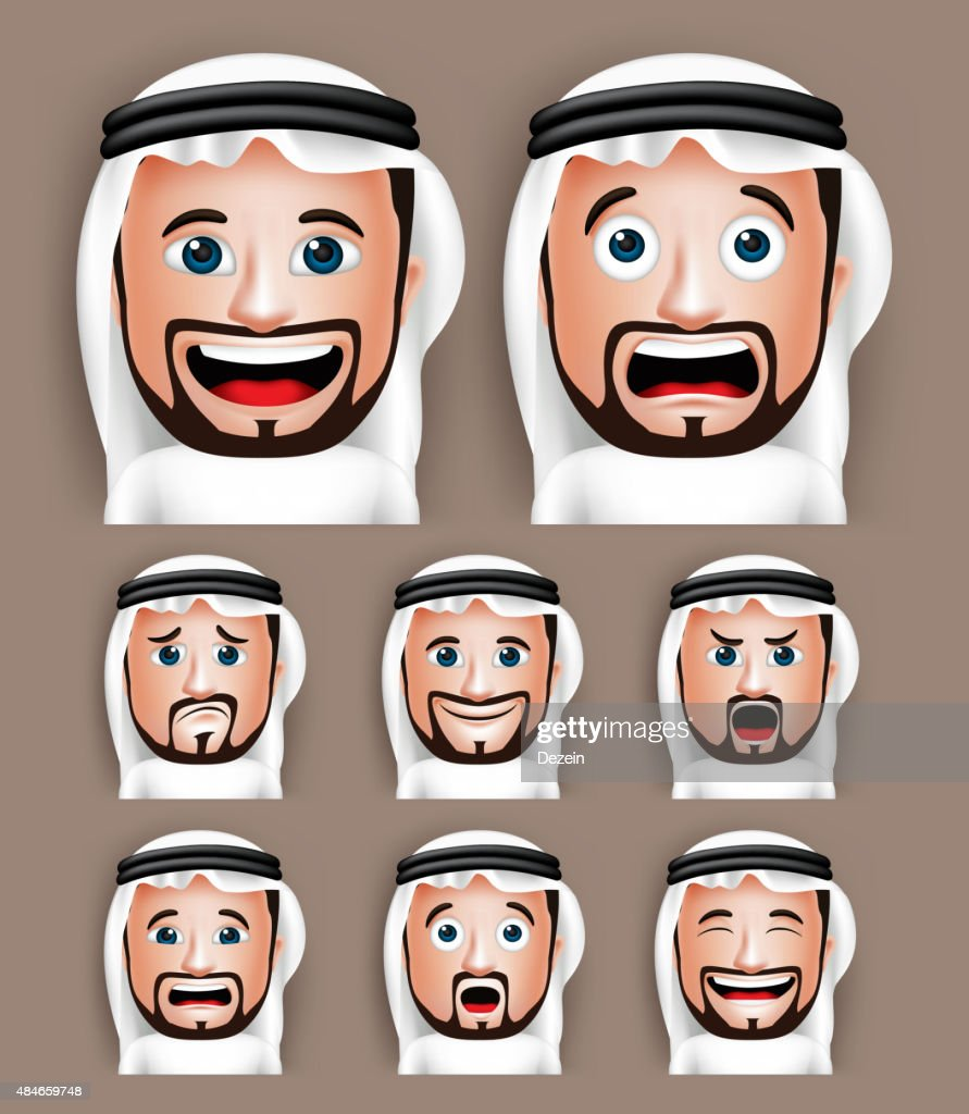 Realistic Saudi Arab Man Head with Different Facial Expressions