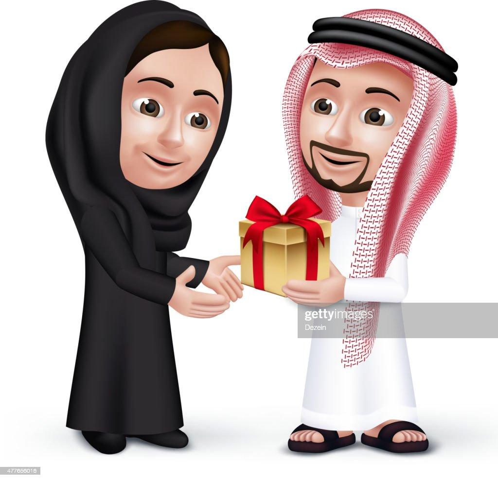 Realistic Saudi Arab Man Wearing Thobe Giving  Gift to Woman