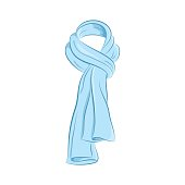 Realistic scarf. Women s fashion accessories. The blue object isolated on white background. Vector cartoon illustration in hand drawing style for your design.