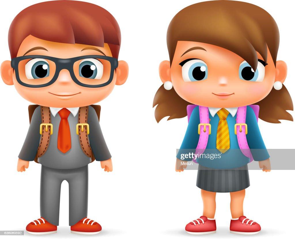 Realistic School Boy Girl Child Pupil Cartoon Education Character 3d