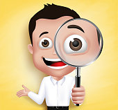 3D Realistic School Boy or Professor Holding Magnifying Glass