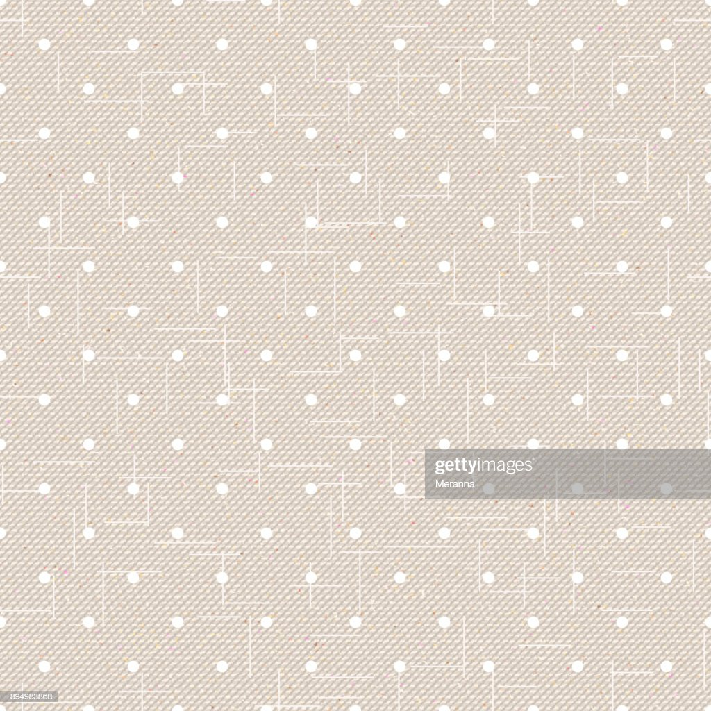 Realistic seamless cotton sailcloth texture. Abstract rough sackcloth fabric. Beige linen canvas dotted texture. Vector design.