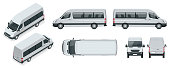 Realistic set of Van template Isolated passenger minibus for corporate identity and advertising. View from side, top, roof, rear, front, isometric.