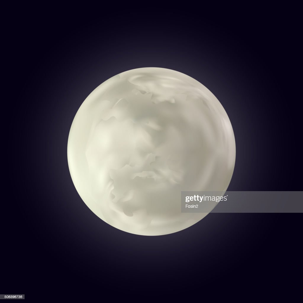 Realistic shining full moon in the dark blue sky