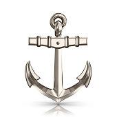 Realistic shiny anchor on white background i