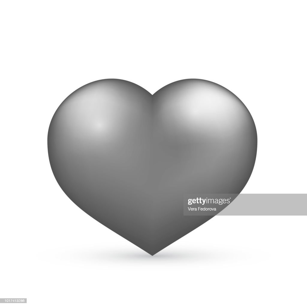 Realistic silver heart. Isolated on white. Valentine's day greeting card background. 3D icon. Romantic vector illustration. Easy to edit design template.