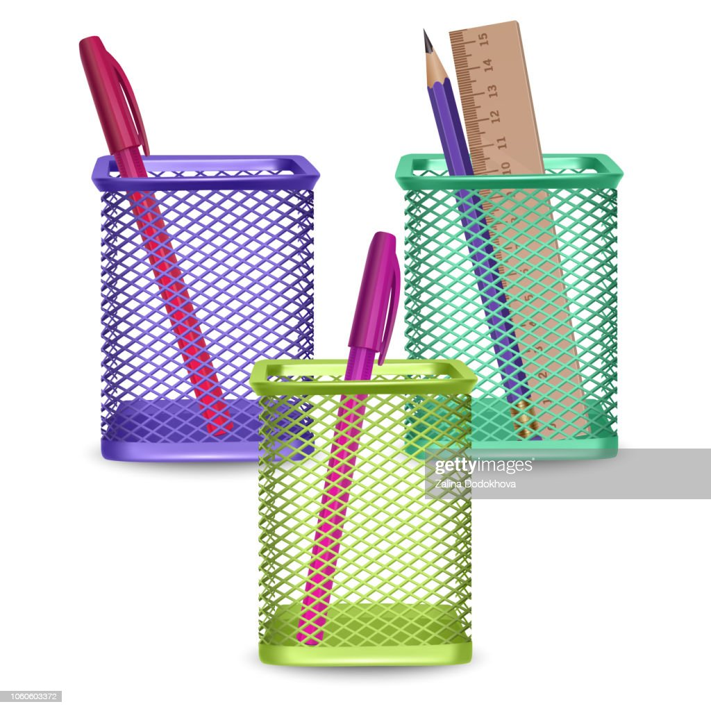 Realistic simple pencil, ruler and pens, office and stationery in the basket on white background