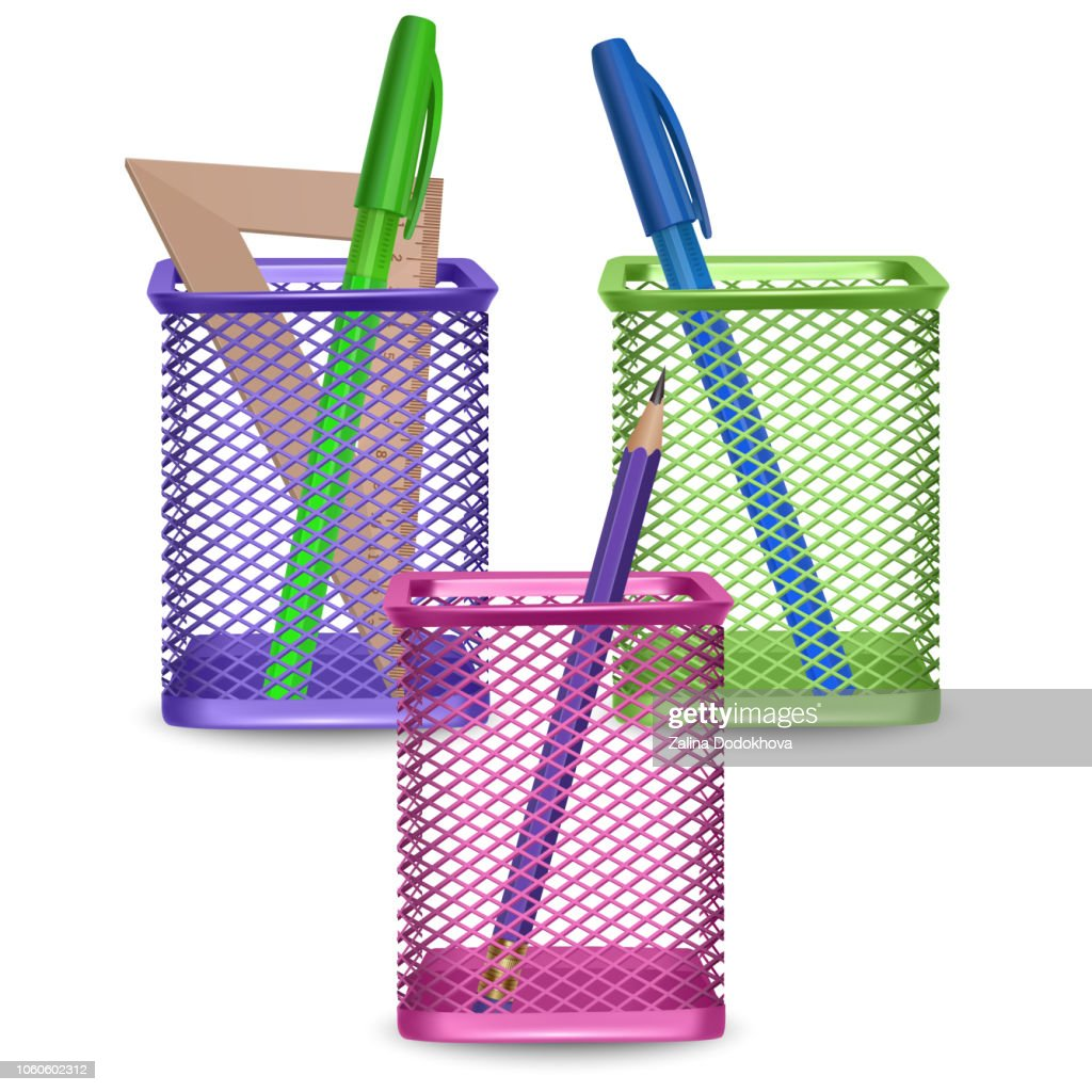 Realistic simple pencil, ruler, green and blue pens, office and stationery in the basket