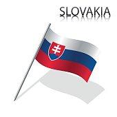 Realistic Slovak flag, vector illustration