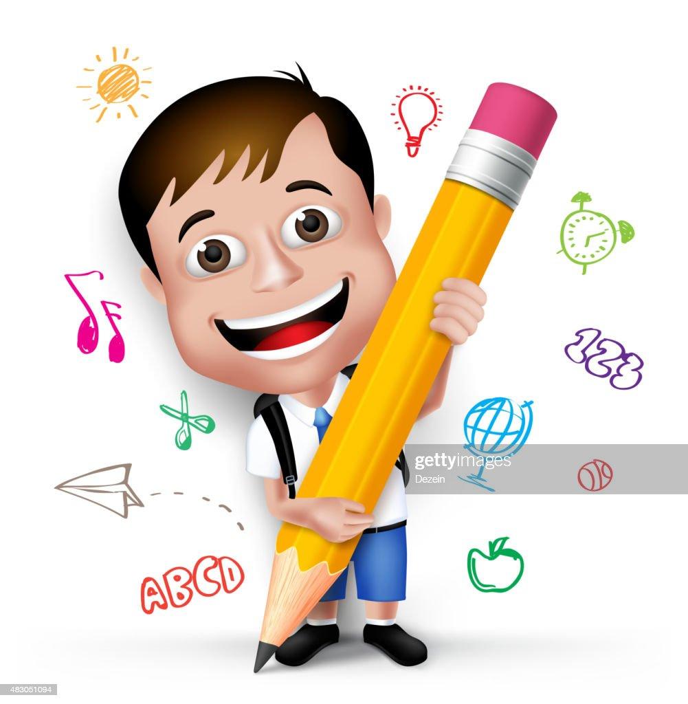 3D Realistic Smart Kid School Boy Writing Creative Ideas