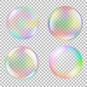 Realistic soap bubble set with rainbow reflection