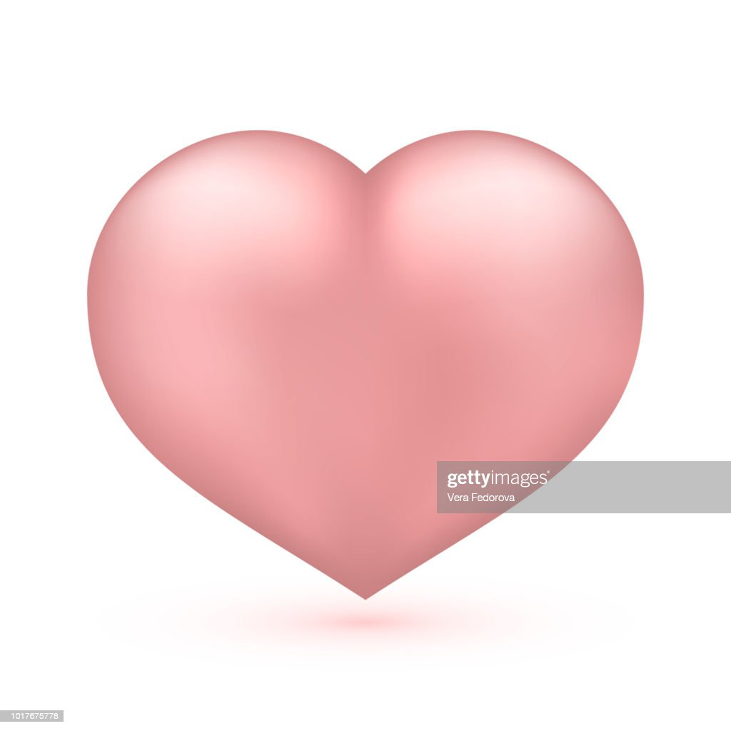 Realistic soft pink heart isolated on white. Valentine's day greeting card background. 3D icon. Romantic vector illustration. Easy to edit design template.