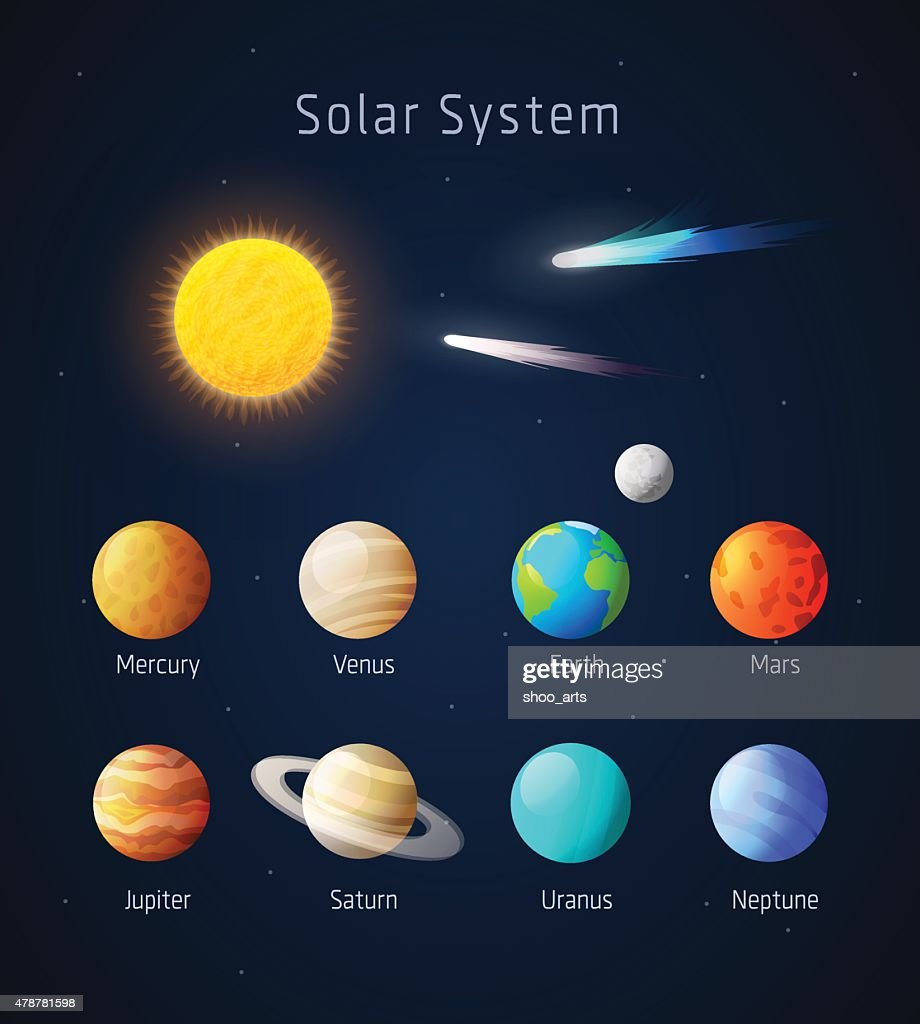 Realistic Solar System objects, vector