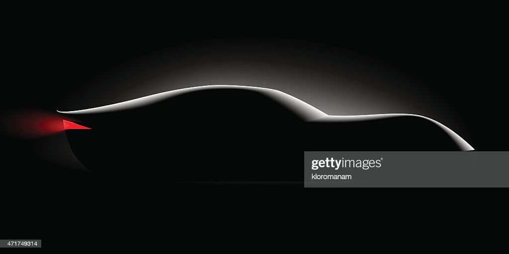 realistic sport car coupe side view in the dark