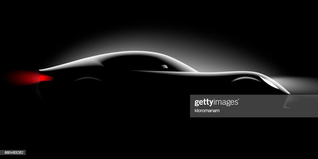 realistic sport super car coupe side view lighting in the dark