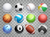 Realistic sports balls vector big set isolated on transparent background