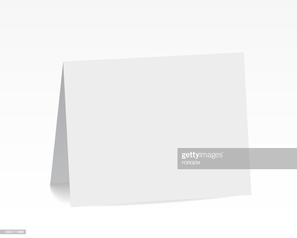 Realistic standing white blank folded paper card - vector