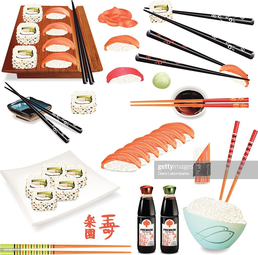 Realistic Sushi Foods With Sashimi, Chopsticks, Soy Sauce And Dinnerware