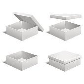 Realistic Template Blank White Boxes Set. Vector