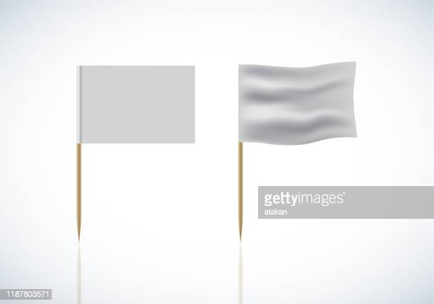 realistic template blank white flags vector on toothpick - pennant stock illustrations
